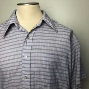 Other - Vintage Short Sleeve Red Blue White Buttondown